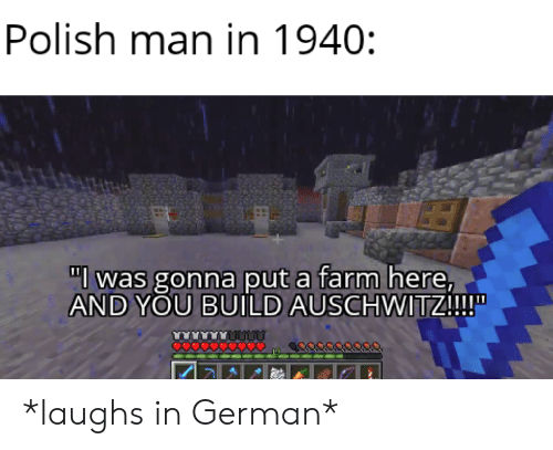 """Auschwitz, German, and Man: Polish man in 1940:  """"l was gonna put a farm here,  AND YOU BUILD AUSCHWITZ!!!  O0000 *laughs in German*"""