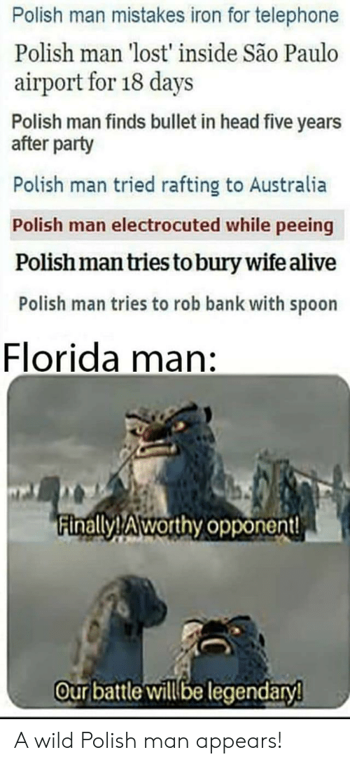 Alive, Florida Man, and Head: Polish man mistakes iron for telephone  Polish man 'lost' inside São Paulo  airport for 18 days  Polish man finds bullet in head five years  after party  Polish man tried rafting to Australia  Polish man electrocuted while peeing  Polish man tries to bury wife alive  Polish man tries to rob bank with spoon  Florida man:  inallyTAworthy opponent!  Our batle illbe legendary A wild Polish man appears!