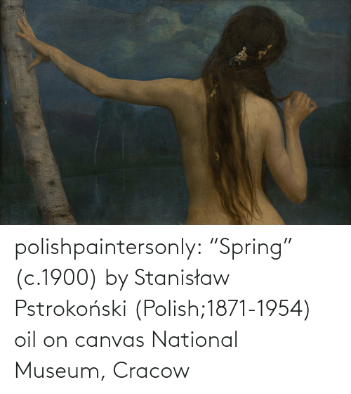 "oil: polishpaintersonly: ""Spring"" (c.1900) by  Stanisław Pstrokoński (Polish;1871-1954) oil on canvas National Museum, Cracow"