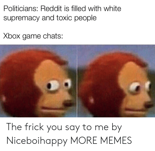 White Supremacy: Politicians: Reddit is filled with white  supremacy and toxic people  Xbox game chats: The frick you say to me by Niceboihappy MORE MEMES