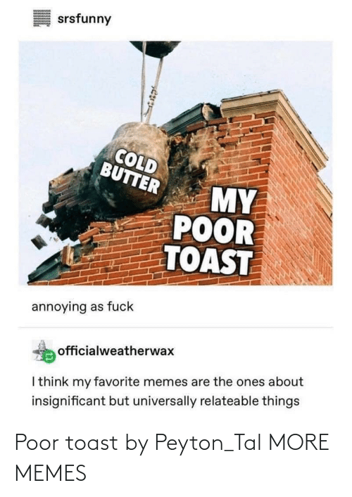 Peyton: Poor toast by Peyton_Tal MORE MEMES