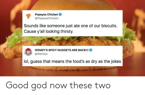Good God: Popeyes Chicken  @Popeyes Chicken  Sounds like someone just ate one of our biscuits  Cause y'all looking thirsty.  WENDY'S SPICY NUGGETS ARE BACK!!!  @Wendys  lol, guess that means the food's as dry as the jokes Good god now these two