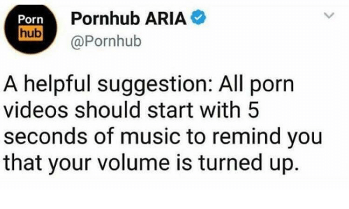 Pornhub Aria: Porn  hub  Pornhub ARIA  @Pornhub  A helpful suggestion: All porn  videos should start with 5  seconds of music to remind you  that your volume is turned up.