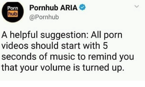Pornhub Aria: Porn  Pornhub ARIA  hub@Pornhub  A helpful suggestion: All porn  videos should start with 5  seconds of music to remind you  that your volume is turned up.