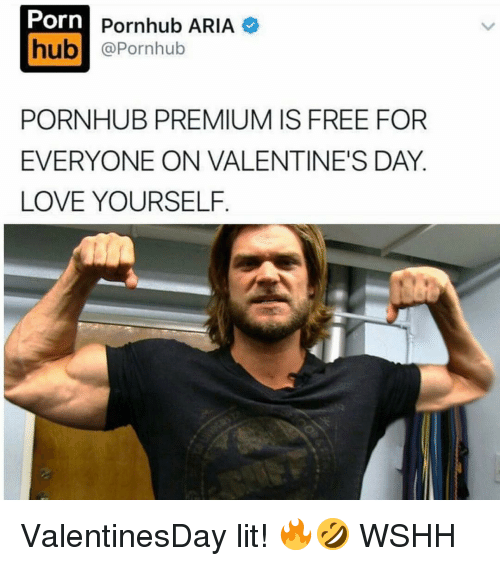 Arias: Porn  Pornhub ARIA  hub  @Pornhub  PORNHUB PREMIUM IS FREE FOR  EVERYONE ON VALENTINE'S DAY  LOVE YOURSELF ValentinesDay lit! 🔥🤣 WSHH