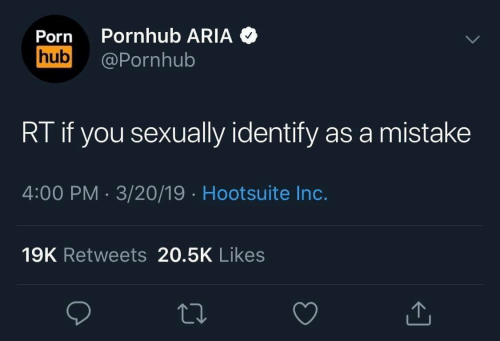Pornhub Aria: Porn Pornhub ARIA  hub@Pornhub  RT if you sexually identify as a mistake  4:00 PM 3/20/19 Hootsuite Inc.  19K Retweets 20.5K Likes