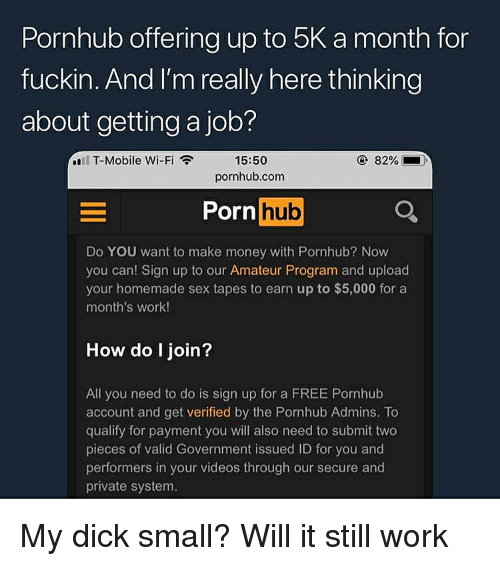 Money, Porn Hub, and Pornhub: Pornhub offering up to 5K a month for