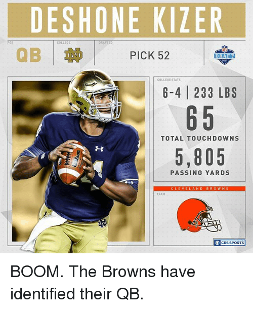 Touchdowners: POS  DESHONE KIZER  COLLEOE  DRAFTED  PICK 52  DRAFT  COLLEGE STATS  6-4 233 LBS  65  TOTAL TOUCHDOWN  5,805  PASSING YARDS  CLEVE  AND BROWNS  TEAM  CBS SPORTS BOOM. The Browns have identified their QB.