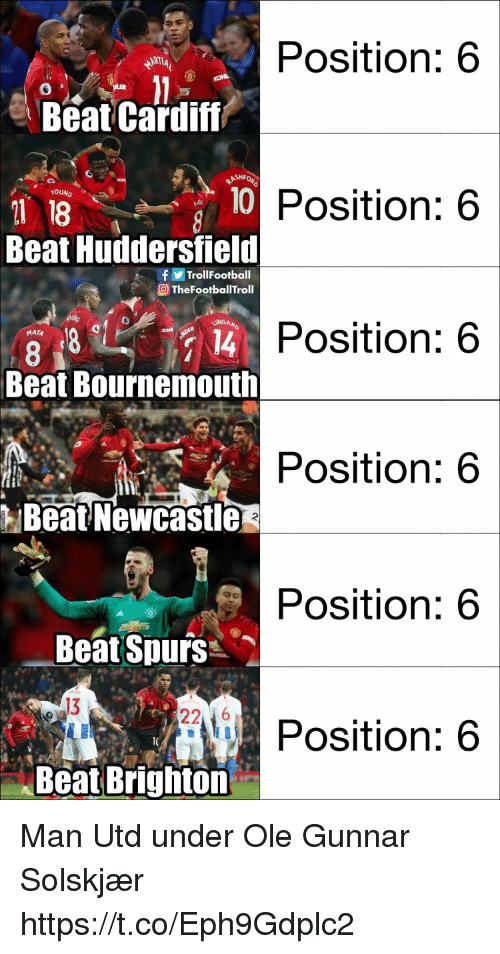 newcastle: Position: 6  0  Beat Cardiff  1 18  10  Position: 6  Beat Huddersfield  fTrollFootball  O TheFootballTroll  14  Position: 6  MATA  Beat Bournemouth  Position: 6  Beat Newcastle  Position: 6  Beat Spurfs  Position: 6  Beat Brighton Man Utd under Ole Gunnar Solskjær https://t.co/Eph9Gdplc2