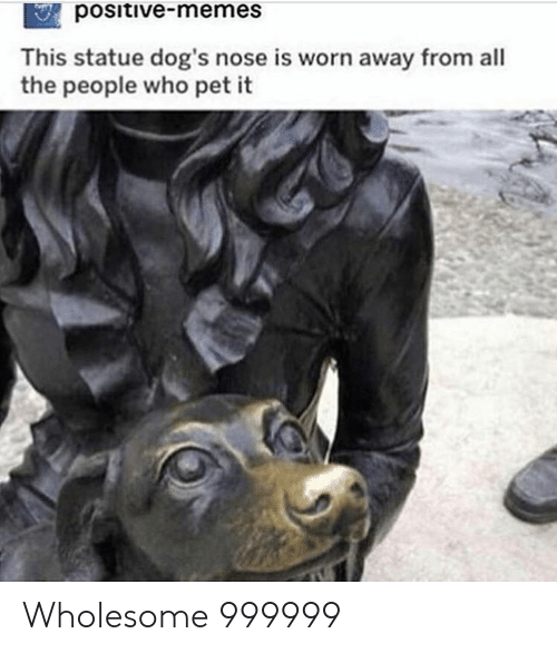 Statue: positive-memes  This statue dog's nose is worn away from all  the people who pet it Wholesome 999999