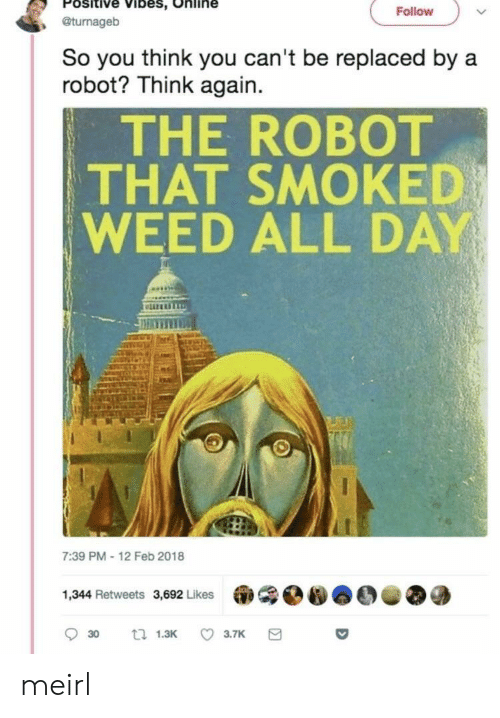 Weed, MeIRL, and Robot: Positive Vibes, Online  , @turnageb  Follovw  So you think you can't be replaced by a  robot? Think again.  THE ROBOT  THAT SMOKED  WEED ALL DAY  liz  7:39 PM-12 Feb 2018  1,344 Retweets 3,692 Likes meirl