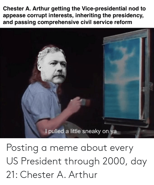 us president: Posting a meme about every US President through 2000, day 21: Chester A. Arthur