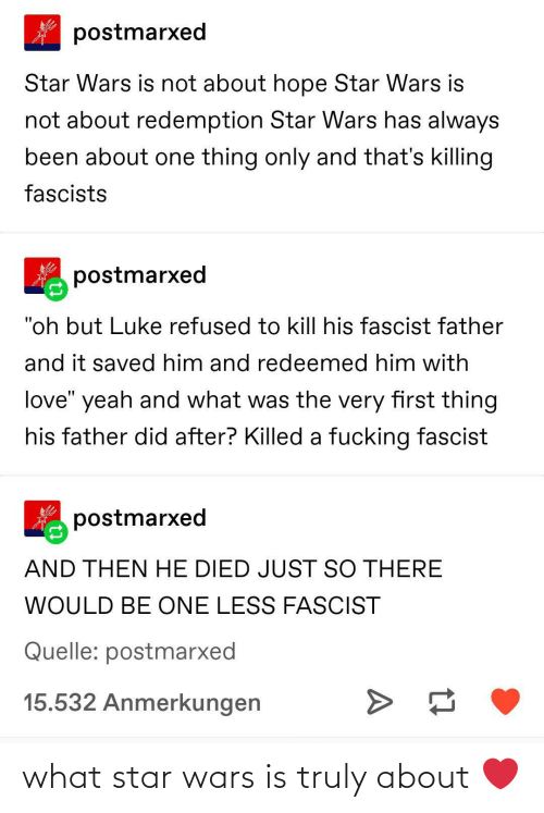 "One Thing: postmarxed  Star Wars is not about hope Star Wars is  not about redemption Star Wars has always  been about one thing only and that's killing  fascists  postmarxed  ""oh but Luke refused to kill his fascist father  and it saved him and redeemed him with  love"" yeah and what was the very first thing  his father did after? Killed a fucking fascist  postmarxed  AND THEN HE DIED JUST SO THERE  WOULD BE ONE LESS FASCIST  Quelle: postmarxed  15.532 Anmerkungen what star wars is truly about ❤️"