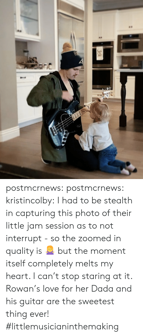 Dada: postmcrnews:  postmcrnews:  kristincolby:I had to be stealth in capturing this photo of their little jam session as to not interrupt - so the zoomed in quality is 🤷♀️ but the moment itself completely melts my heart. I can't stop staring at it. Rowan's love for her Dada and his guitar are the sweetest thing ever! #littlemusicianinthemaking