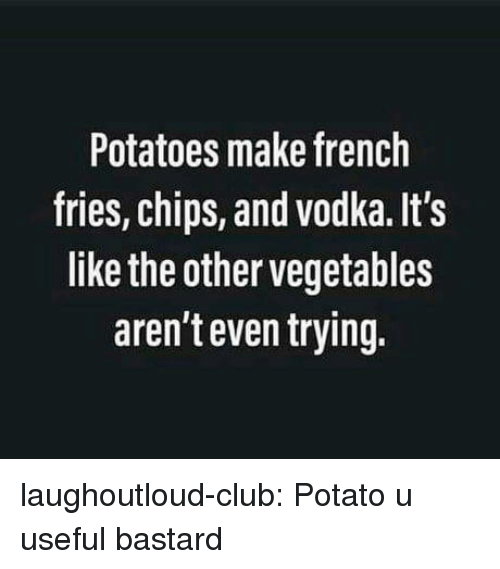 french fries: Potatoes make french  fries, chips, and vodka. It's  like the other vegetables  aren't even trying. laughoutloud-club:  Potato u useful bastard