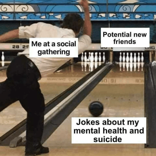 Friends, Jokes, and Suicide: Potential new  friends  28 2s Me at a social  LNG  gathering  Jokes about my  mental health and  suicide