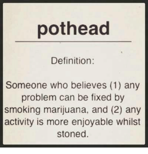 Definitely, Memes, and Smoking: pothead  Definition:  Someone who believes (1) any  problem can be fixed by  smoking marijuana, and (2) any  activity is more enjoyable whilst  stoned.