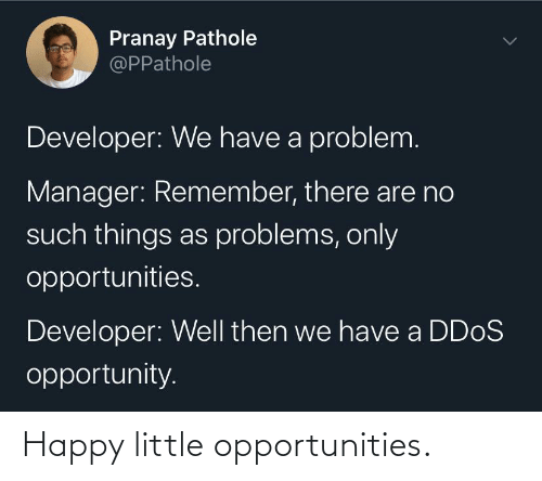 Opportunity: Pranay Pathole  @PPathole  Developer: We have a problem.  Manager: Remember, there are no  such things as problems, only  opportunities.  Developer: Well then we have a DD0S  opportunity. Happy little opportunities.