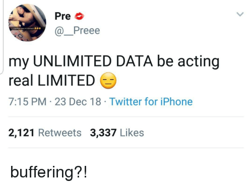 Iphone, Twitter, and Limited: Pre  @Preee  my UNLIMITED DATA be acting  real LIMITED  7:15 PM 23 Dec 18 Twitter for iPhone  2,121 Retweets 3,337 Likes buffering?!