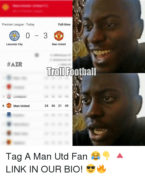Leicester City: Premier League Today  Full-time  Leicester City  Man United  HAZR  Troll Football  24 02 SU 40  Liverpool  6 Man United  24 36 21 45 Tag A Man Utd Fan 😂👇 🔺LINK IN OUR BIO! 😎🔥