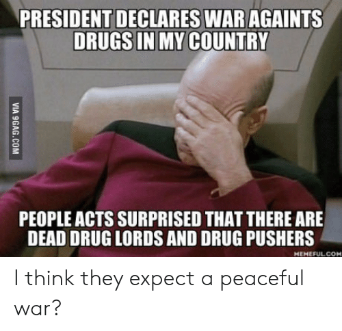 drug lords: PRESIDENT DECLARES WAR AGAINTS  DRUGS IN MY COUNTRY  PEOPLE ACTS SURPRISED THAT THERE ARE  DEAD DRUG LORDS AND DRUG PUSHERS  HEMEFULCOM I think they expect a peaceful war?