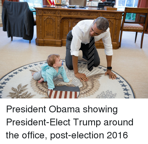 election 2016: President Obama showing President-Elect Trump around the office, post-election 2016