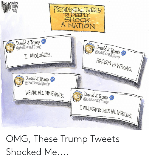 Omg, Racism, and Trump: PRESIDENTIAL TWEETS  To DEEPLY  SHOCK  A NATION  02019  ENSORY  Donald J. Trump  @realDonaldTrump  Donald J. Trump  @realDanald Trump  I APOLOGIZE  RACISM IS WRONG.  Donald J. Trump  @cealDonal Trump  Donald J. Tromp  @realDanald Trump  WE AREALL IMMIGRANTS  I wILL SEEKTO UNITE ALL AMERICANS, OMG, These Trump Tweets Shocked Me....