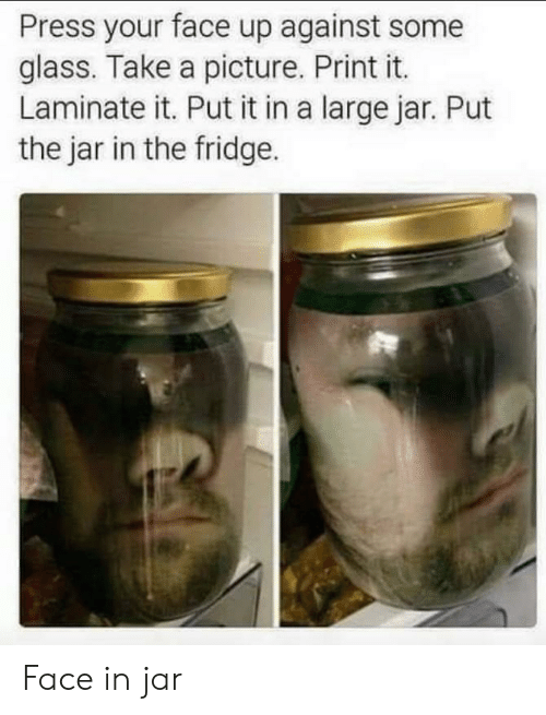 take a picture: Press your face up against some  glass. Take a picture. Print it.  Laminate it. Put it in a large jar. Put  the jar in the fridge. Face in jar