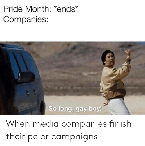 Boy, Media, and Gay: Pride Month: *ends*  Companies:  So long, gay boy! When media companies finish their pc pr campaigns