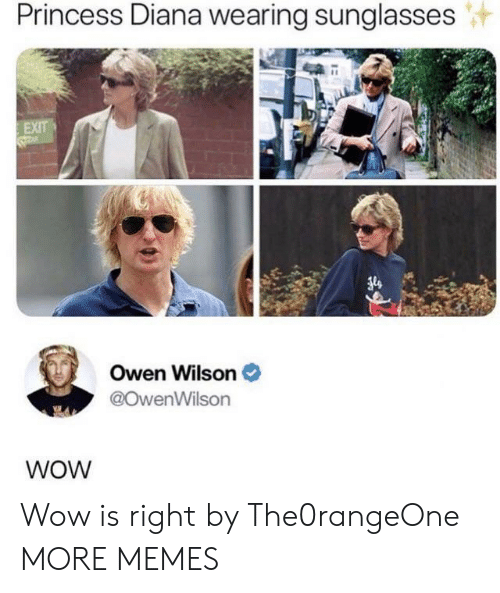 owen: Princess Diana wearing sunglasses  EXIT  Owen Wilson  @OwenWilson  WOW Wow is right by The0rangeOne MORE MEMES