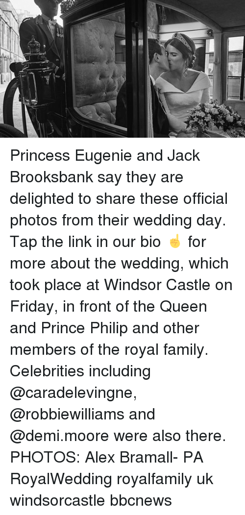 Royal family: Princess Eugenie and Jack Brooksbank say they are delighted to share these official photos from their wedding day. Tap the link in our bio ☝️ for more about the wedding, which took place at Windsor Castle on Friday, in front of the Queen and Prince Philip and other members of the royal family. Celebrities including @caradelevingne, @robbiewilliams and @demi.moore were also there. PHOTOS: Alex Bramall- PA RoyalWedding royalfamily uk windsorcastle bbcnews