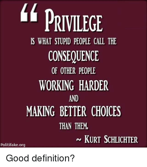 consequence: PRIVILEGE  IS WHAT STUPID PEOPLE CALL THE  CONSEQUENCE  OF OTHER PEOPLE  WORKING HARDER  AND  MAKING BETTER CHOICES  THAN THEM  KURT ScHLICHTER  Politifake.org Good definition?