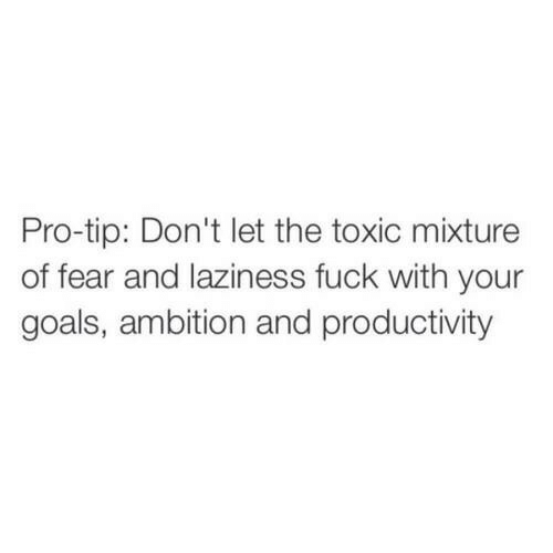 productivity: Pro-tip: Don't let the toxic mixture  of fear and laziness fuck with your  goals, ambition and productivity