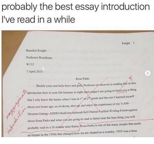 Gay Marriage Essay Thesis Energy Life And Monster Probably The Best Essay Introduction Ive Read Good Science Essay Topics also Essays For High School Students Fakehistory Rosa Parks Moments Before Refusing To Relinquish Her  Essays On Science Fiction
