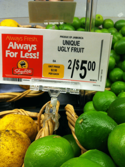 Fresh, Ugly, and Shoprite: PRODUC OF JAMAING  UNIQUE  UGLY FRUIT  Always Fresh.  Always  For Less  EA  UNIT PRICE  $2.50  PER EACH  ShopRite  06/28/13