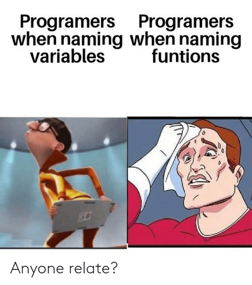 Relate: Programers Programers  when naming when naming  variables  funtions Anyone relate?