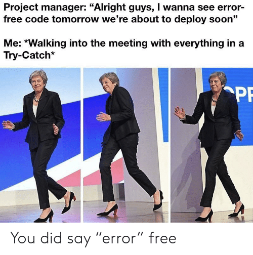 """Soon..., Free, and Tomorrow: Project manager: """"Alright guys, I wanna see error-  free code tomorrow we're about to deploy soon""""  Me: *Walking into the meeting with everything in  Try-Catch*  PF You did say """"error"""" free"""