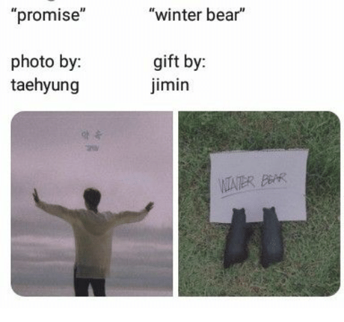 "Winter, Bear, and Bar: ""promise""  ""winter bear""  photo by:  taehyung  gift by:  imin  VITATER BAR"