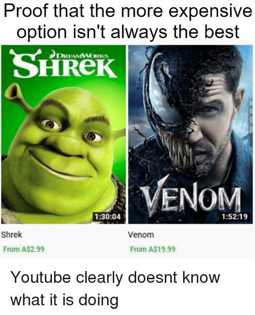 dreamworks: Proof that the more expensive  option isn't always the best  SHReK  DREAMWORKS  VENOM  1:30:04  1:52:19  Shrek  Venom  From A$2.99  From A$19.99 Youtube clearly doesnt know what it is doing
