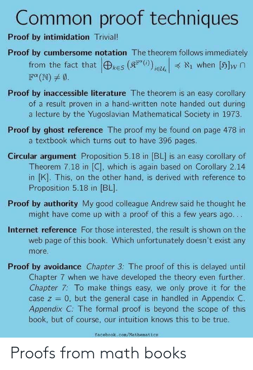 Proofs: Proofs from math books
