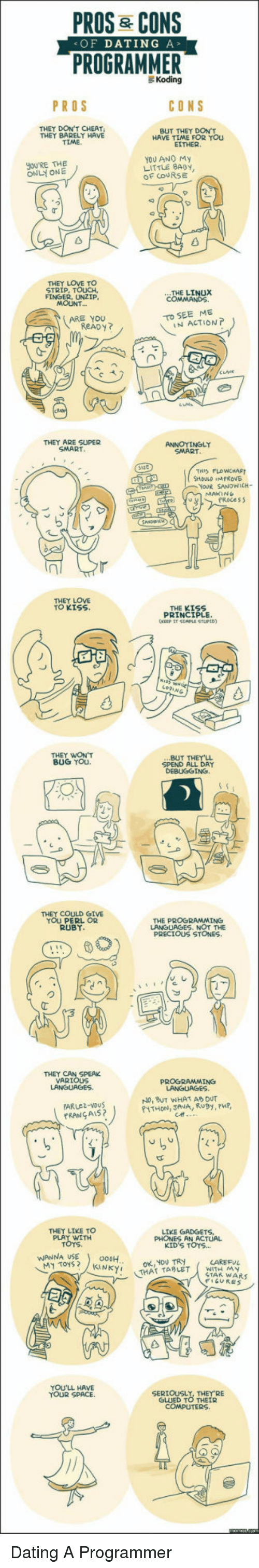 perl: PROS& CONS  PROGRAMMER  <OF DATING A>  Koding  PROS  THEY DON'T CHEAT  THEY BARELY HAVE  TIME  BUT THEY DON'T  HAVE TIME FOR YOU  EITHER  YOU ANO My  LITTLE 8ADY  OF COURSE  JOU'RE THE  THEY LOVE TO  STRIP, TOUCH.  FINGER, UNZIP  THE LINUX  MOUNT  ReADY?  THEY ARE SUPER  THIS FLOWCHAFT  MAKIN  THEY LOVE  TO KISS  THE KISS  PRINCIPLE  THEY WON'T  BUG YOu.  SPEND ALL DAY  DEBUGGING.  THEY COULD GIVE  YOU PERL OR  RUBY  THE PROGRAMMING  THEY CAN SPEAK  VARIOUS  PROGRAMMING  No, BuT WHAT AS DUT  THEY LIKE TO  WITH  PHONES AN ACTUAL  KID'S TOYS...  WANNA USE0H  WITH M y  STAR WARS  THAT TARLET  YOU'LL HAVE  TOUR SPACE.  SERIOUSLY, THEY RE  GLUED TO THEIR Dating A Programmer