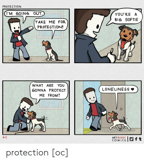 Protect: PROTECTION  I'M GOING OUT.  YOU'RE A  BIG SOFTIE  TAKE ME FOR  PROTECTION!  WHAT ARE YOU  LONELINESS  GONNA PROTECT  ME FROM?  5  HEY BUDDY  COMICS  ft protection [oc]
