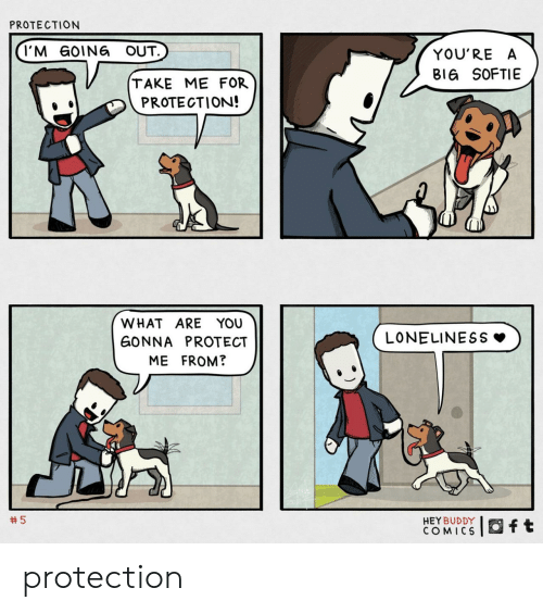 Protect: PROTECTION  I'M GOING OUT.  YOU'RE A  BIG SOFTIE  TAKE ME FOR  PROTECTION!  WHAT ARE YOU  LONELINESS  GONNA PROTECT  ME FROM?  5  HEY BUDDY  COMICS  ft protection