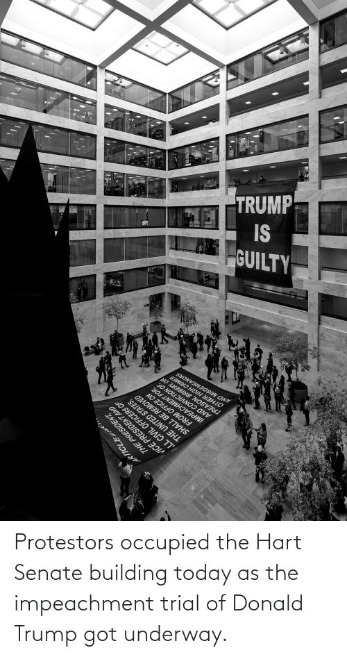 building: Protestors occupied the Hart Senate building today as the impeachment trial of Donald Trump got underway.