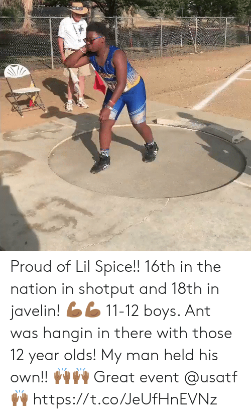 12 Year: Proud of Lil Spice!! 16th in the nation in shotput and 18th in javelin! 💪🏾💪🏾 11-12 boys.  Ant was hangin in there with those 12 year olds!  My man held his own!! 🙌🏾🙌🏾 Great event @usatf 🙌🏾 https://t.co/JeUfHnEVNz