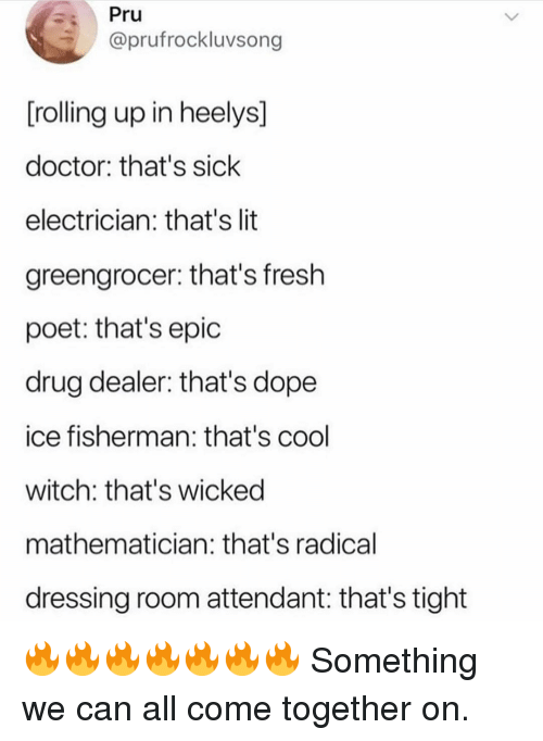 Doctor, Dope, and Drug Dealer: Pru  @prufrockluvsong  [rolling up in heelys]  doctor: that's sick  electrician: that's lit  greengrocer: that's fresh  poet: that's epic  drug dealer: that's dope  ice fisherman: that's cool  witch: that's wicked  mathematician: that's radical  dressing room attendant: that's tight 🔥🔥🔥🔥🔥🔥🔥 Something we can all come together on.
