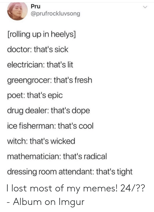 Poet: Pru  @prufrockluvsong  [rolling up in heelys]  doctor: that's sick  electrician: that's lit  greengrocer: that's fresh  poet: that's epic  drug dealer: that's dope  ice fisherman: that's cool  witch: that's wicked  mathematician: that's radical  dressing room attendant: that's tight I lost most of my memes! 24/?? - Album on Imgur