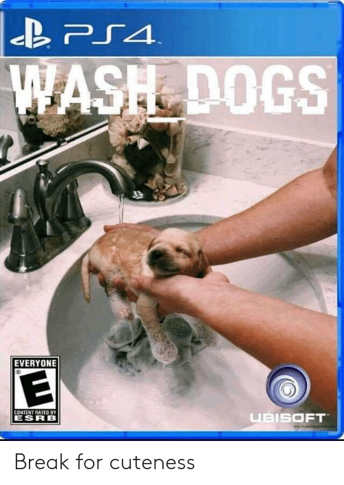 Dogs, Ps4, and Ubisoft: PS4  WASH DOGS  T  EVERYONE  CONTENT RATED BY  UBISOFT  ESRB Break for cuteness