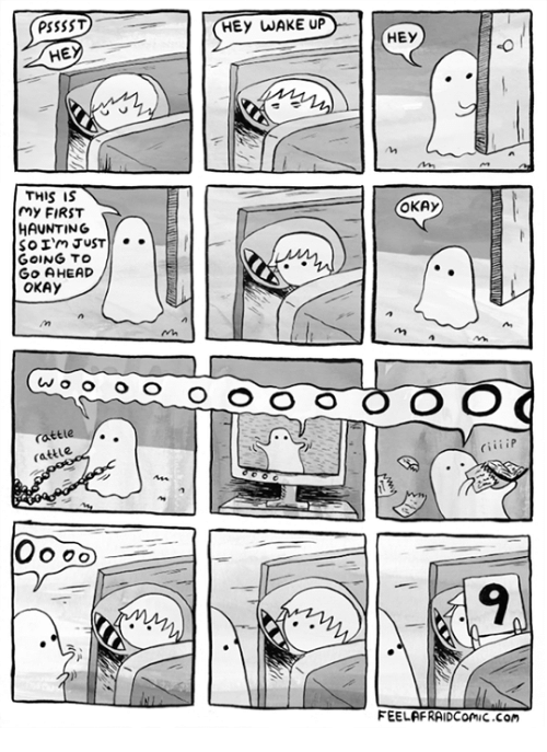 hey wake up: PSssST  HE  THIS IS  my FIRST  HAUNTING  so I'm JUST  GOING TO  Go AHEAD  OKAY  o o o o  Oo oo  HEY WAKE UP  O O O O  HEY  OKAY  O O O  FEELAFRAIDComic.com