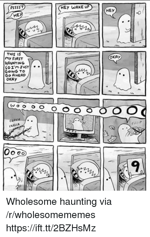 Haunting: PSSSST  HEy WAKE UP  HE  HEY  THIS IS  my FIRST  HAUNTING  OKAy  GoING TO  Go AHEAD  OKAY  attle  rattle  9 Wholesome haunting via /r/wholesomememes https://ift.tt/2BZHsMz